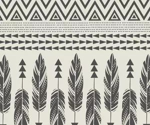 Tribal Feathers Black Cream Boho BackgroundsIphone