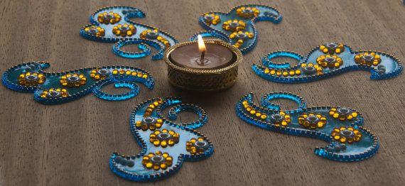 Blue and yellow  Reusable Diwali Rangoli Kundan by Shimmeria