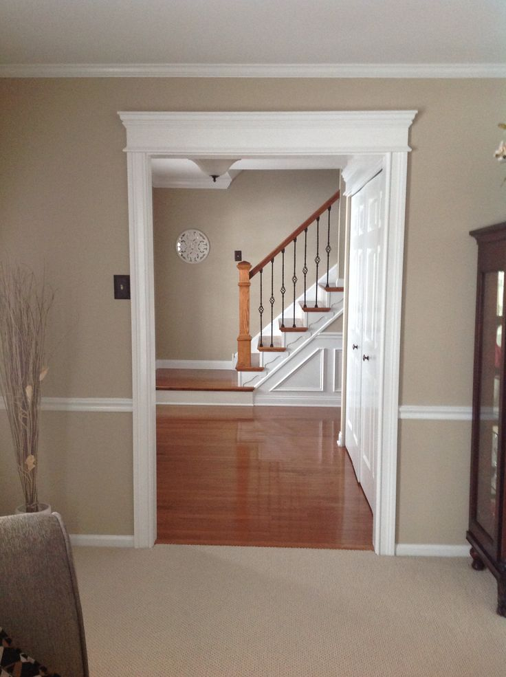 New Moldings, Hardwoods, Stairway, Balusters, SW Pavilion Beige Paint.