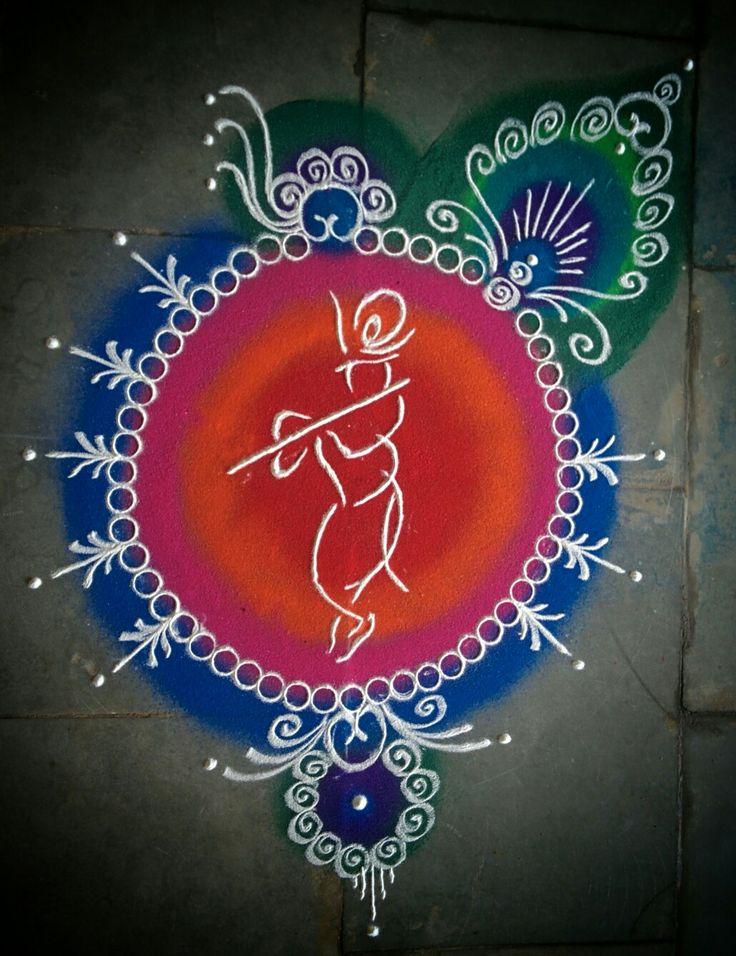 #Janmashtami #rangoli #krishna #colors