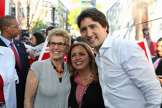 Premier Kathleen Wynne attended a rally with Liberal Supporters and Liberal Party of Canada Leader Justin Trudeau in Trinity Spadina.