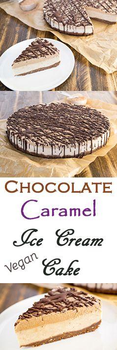 Raw, Vegan Chocolate Caramel Ice Cream Cake.