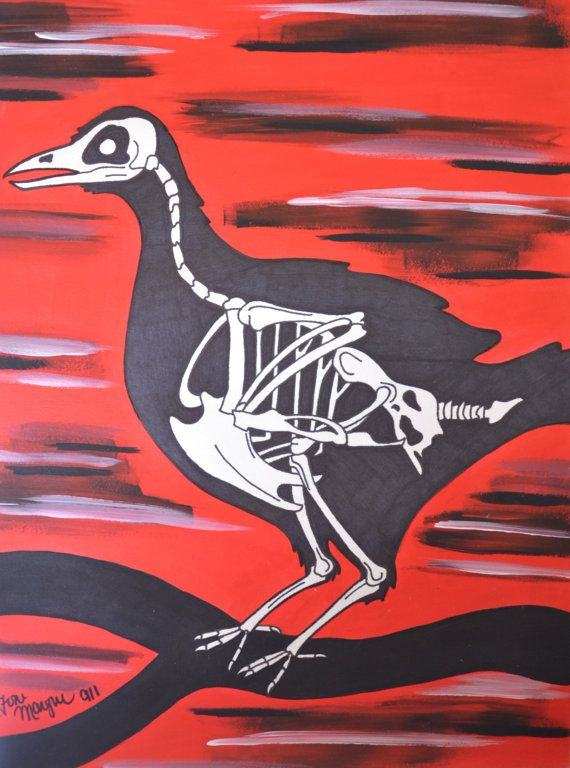Red and Black Raven Skeleton, Gothic Bird Drawing, 9x12 Inch Acrylic Painting, Wall Decor, Alternative Gift Idea, Sharpies Artwork