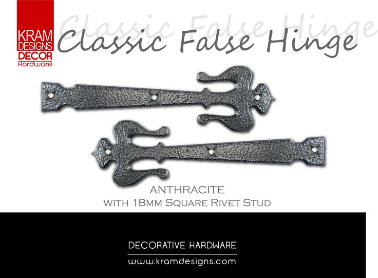 Anthracite Classic False Hinge with 18mm Square Rivets by Kram Designs Decor Hardware. www.kramdesigns.c...