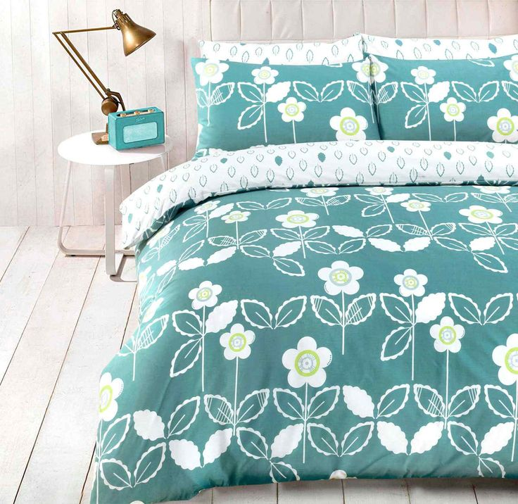 Scandi Floral Duvet Quilt Bedding Set | Teal – Linens Range