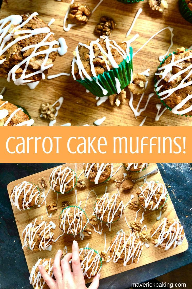 Carrot Cake Muffins; fluffy cinnamon-spiced muffins laced with grated carrot, chopped walnuts and sweet raisins, drizzled with a quick vanilla icing! Who said you can't have cake for breakfast?