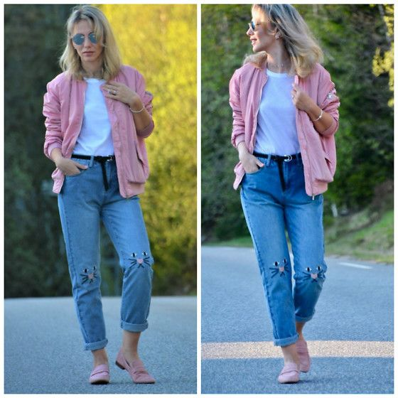 Get this look: http://lb.nu/look/8724203  More looks by Karolina Zajkowska: http://lb.nu/carolinez1  #casual #sporty #street #pink #bomber #90s #trendy #embroyed #jeans