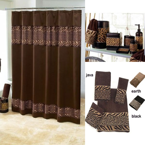 cheshire animal print shower curtain and bath accessories by avanti rh pinterest co uk Shower Curtain Sets Animal Prints Leopard Bathroom Sets and Accessories