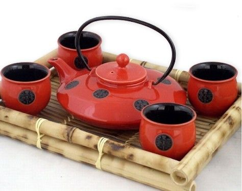 "$38 5 Piece Contemporary Art Decor Red / Black ""Chinese Coin"" Porcelain Tea Set"