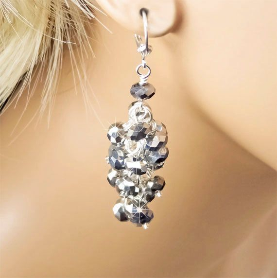 Metallic Silver Swarovski Crystal Waterfall Dangle Bridesmaid Earrings by PixieDustFineries