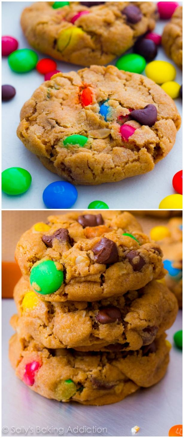 The best! Super soft and thick peanut butter cookies with oats, chocolate chips, and M&Ms.