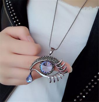 Find More Pendant Necklaces Information about Fashion Crystal Eye & Tear Pendant+74cm Long Sweater Chain Fashion Women Eye Statement Necklace Colares Femininos,China necklace gothic Suppliers, Cheap necklace clover from Personality Life Space on Aliexpress.com