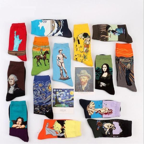 Art Cotton Crew Socks Painting Character Pattern Harajuku Design Sox Calcetines Van Gogh