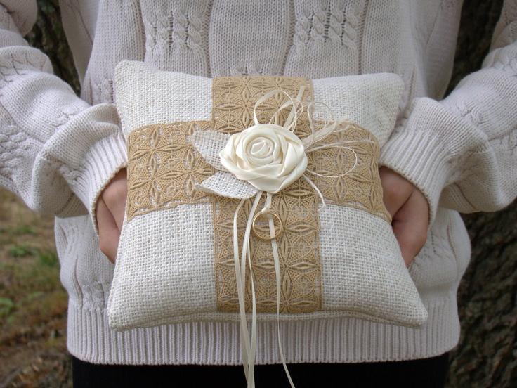 Wedding Ring Pillow, Ring Bearer Pillow, Burlap Ring Pillow,  Burlap Pillow, White, Burlap, Rustic Wedding. $35.00, via Etsy.