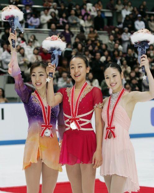 Mao Asada (JPN), Fumie Suguri (JPN), and Yukari Nakano (JPN)  2006 Nagano