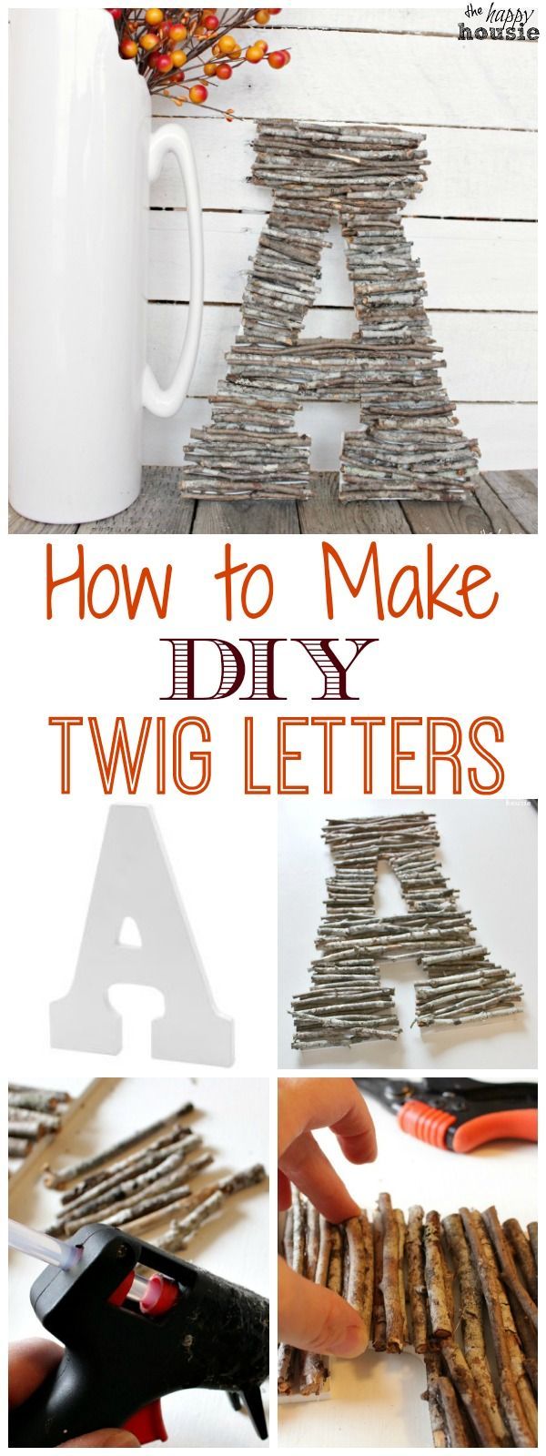 Easy DIY Craft with twigs and branches - learn how to make your own Twig Letters or a Twig Monogram tutorial at The Happy Housie #twigcrafts #naturecrafts #falldecor