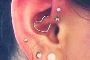 Wired Heart 16G Daith Earring, Rook Piercing, Cartilage Ring, Orbital Hoop, Helix Earring