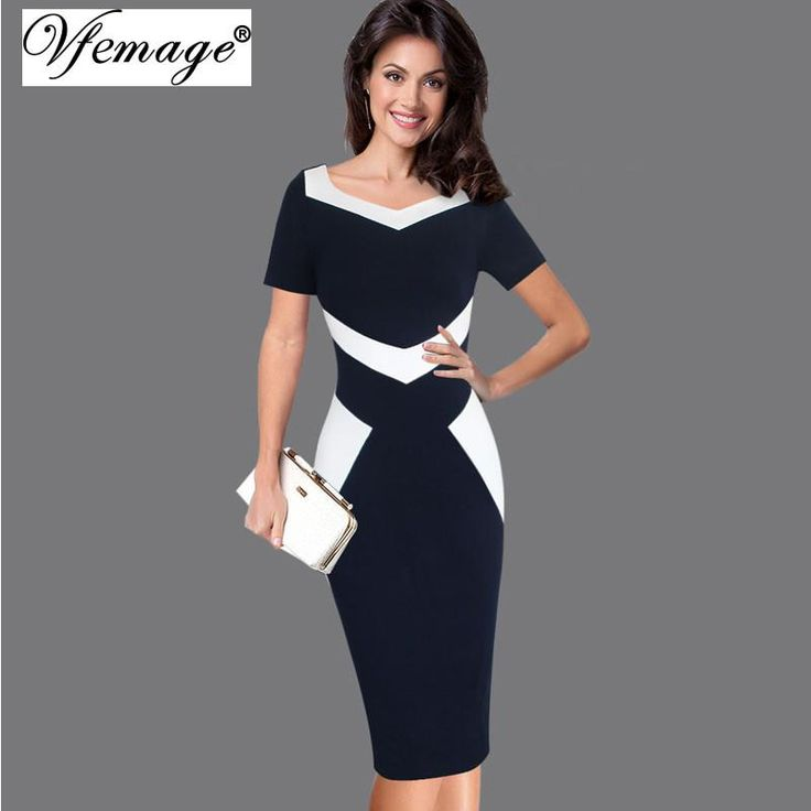 Elegant Optical Illusion Patchwork Contrast Casual Work Office Pencil Dress Small - plus size 5XL