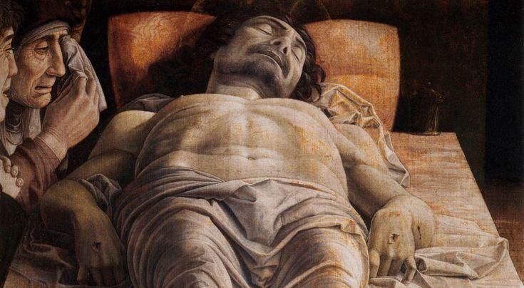 Fragment obrazu Andrei Mantegni Opłakiwanie zmarłego Chrystusa Andrea Mantegna i pierwszy Chrystus w skrócie