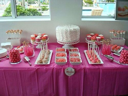 sweet baby shower dessert table