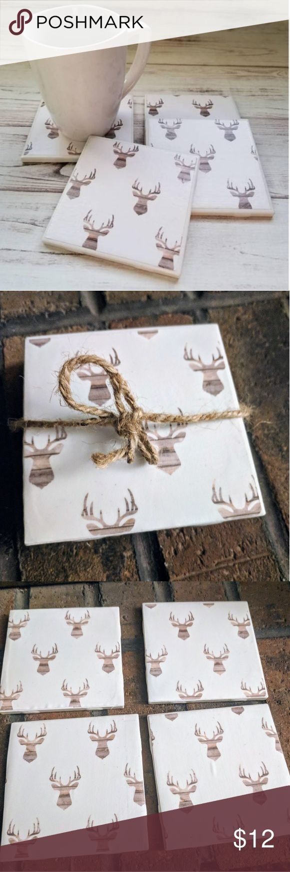 Deer Head Ceramic Coasters Tile Coasters set of 4. Size 4x4x4. Rustic Home Coasters. They make for a unique and memorable gift - or you can purchase for yourself, why not? They will make a perfect addition to the Farmhouse.They have a gloss finish. You could also display the tiles in your home, office or family room! They include 4 medium duty felt pads on the back surface to prevent any scratches. Clean them with a damp cloth or wipe. No dishwashing. Other