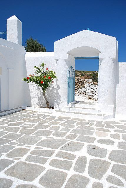 The yard of Panagia Poulati Cchurch in Sifnos, Greece