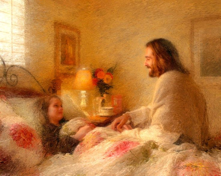 Painting of Jesus visiting an ill child by Greg Olsen