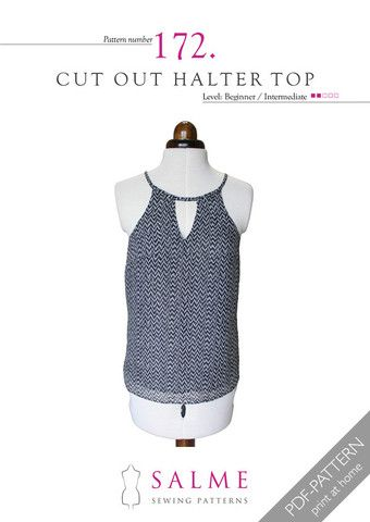 A fully lined halter shaped top with a cut out at front and back neckline....