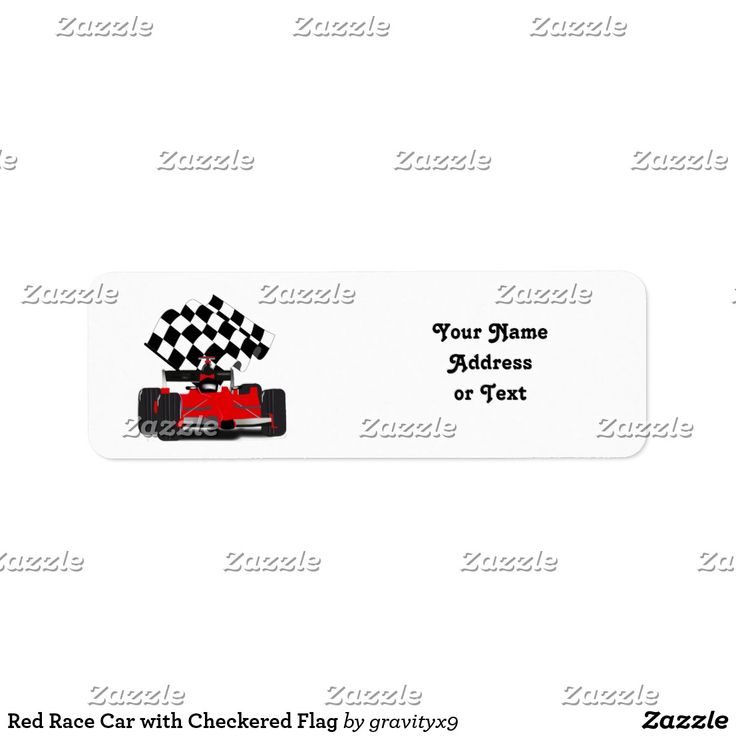 Red Race Car with Checkered Flag Label by Gravityx9 and Sports4you - Vroom, Vroom! Jazz up your letters! Red Race Car with a winning checkered flag! Add your address or other text to personalize. Three sizes are available for these labels, choose your favorite font style and background color of your choice can be added!