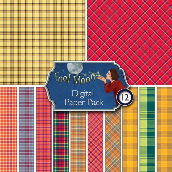 Digital Printable Paper, plaids and tartan for scrapbooking, ATC, ACEO, collage, visual journaling, card making - Plaid small Pack01