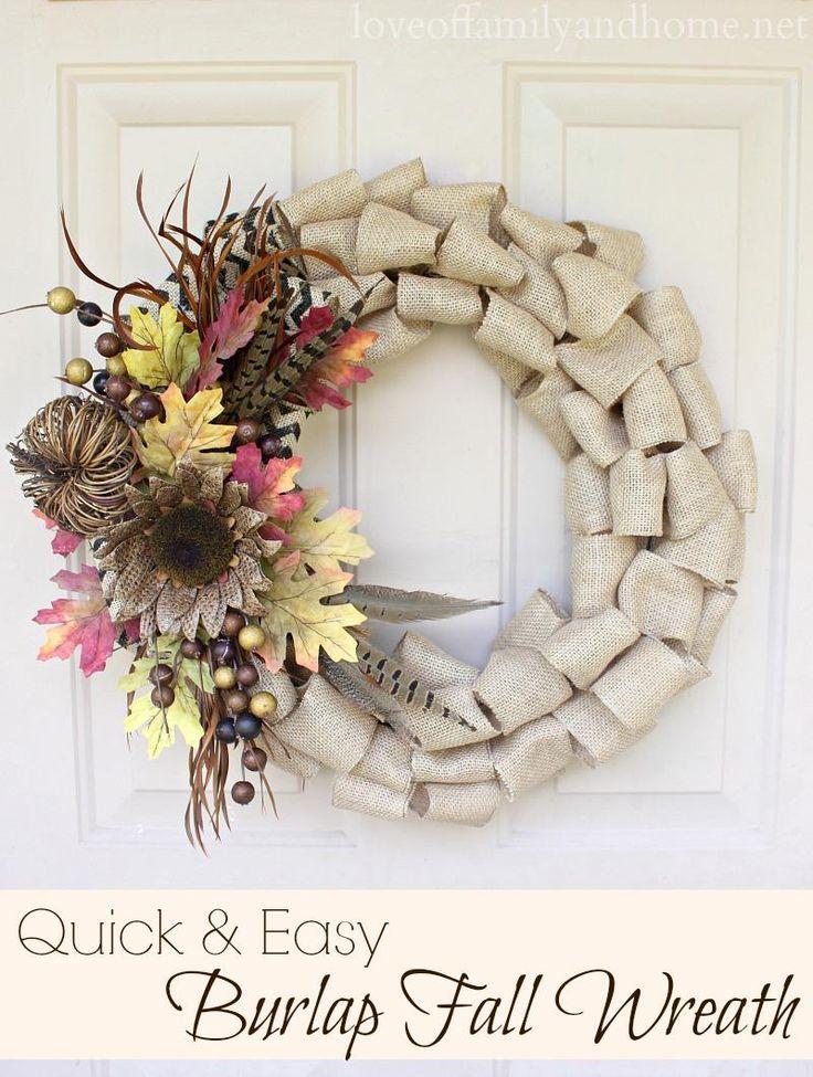 DIY Autumn : DIY Fall Wreath with Burlap Flowers