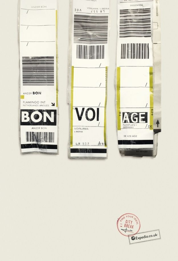 Brilliant Travel Ads: New campaign by Expedia uses airport code tags as copy. Btw, there are over 9,000 airports around the world, each with its own 3-letter code