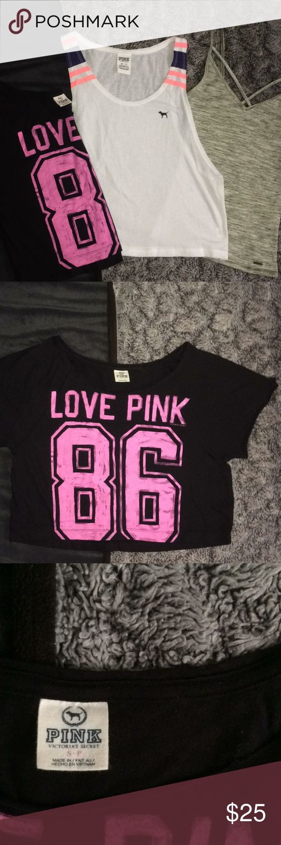🎉Pink tops Bundle!! Like new tops bundle!!!! includes a Hollister strappy top XS a PINK tank XS and a PINK crop top S,  they are all in like new condition and I ship fast!! PINK Tops Tees - Short Sleeve