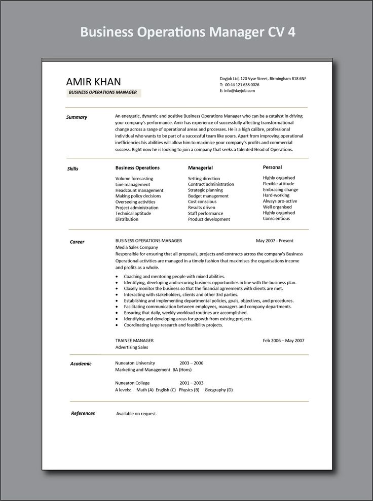 Business Operations Manager CV 4 example Operations