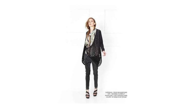 Malloni Grey Collection S13 #cardigan #top #shoes #slacks