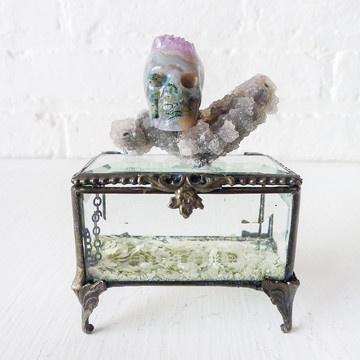 Agate Crystal Skull Jewelry Box