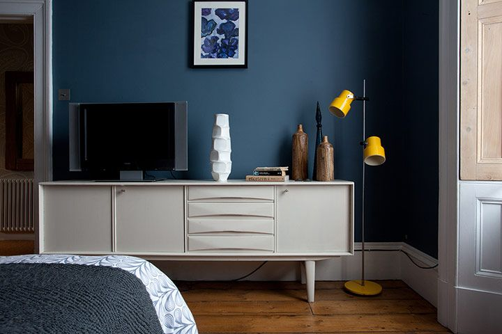 Just the right colour blue (Steel Symphony from Dulux) for walls, offset by white woodwork.. via The Guardian