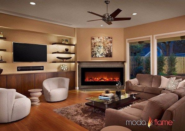 Best Wall Mount Electric Fireplace Moda Flame Houston 50 Inch Electric Wall Mounted Fi Living Room With Fireplace Contemporary Family Rooms Livingroom Layout