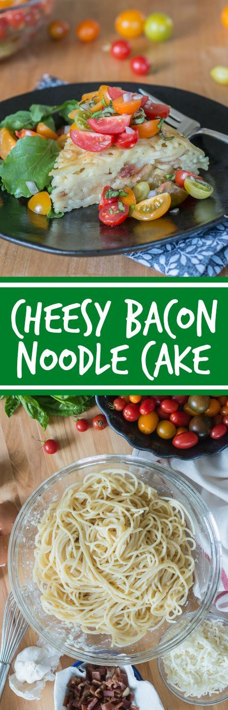 With bacon and cheese tucked in the center, this savory noodle cake tastes delicious topped with fresh summer tomatoes. This simple, flavorful recipe is easy to prepare. It's a great way to use up leftover spaghetti, too!