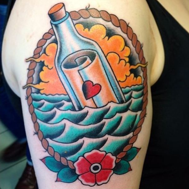 ~ New Traditional tattoo ~ Message in a bottle