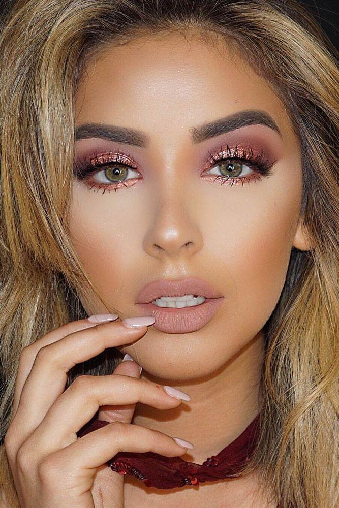 Pin by Ideas For Lush Makeup on Lip colors | Bridesmaid makeup, Gold makeup, Makeup