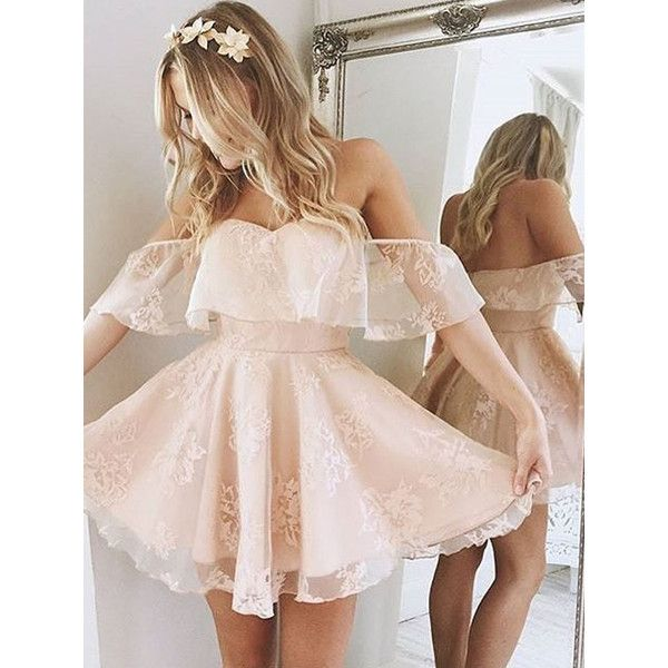Princess Off the shoulder Ruffle Short Homecoming Dress Party Dress ($133) ❤ liked on Polyvore featuring dresses, pink chiffon dresses, sexy mini dress, a line cocktail dress, short cocktail dresses and pink cocktail dress