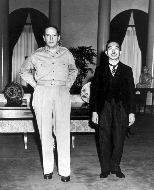 Douglas MacArthur and Emperor Hirohito, September 27, 1945 via reddit