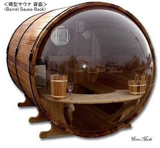 Diameter and length 6ft x 8ft (rest area at entrance: 2ft) and it is manufactured by Barrel Enterprises.    A bubble-shaped window is made by smoke and cannot be seen from the outside.    Canadian Cedar makes you relax the mind and body by good smell of wood. (Article)