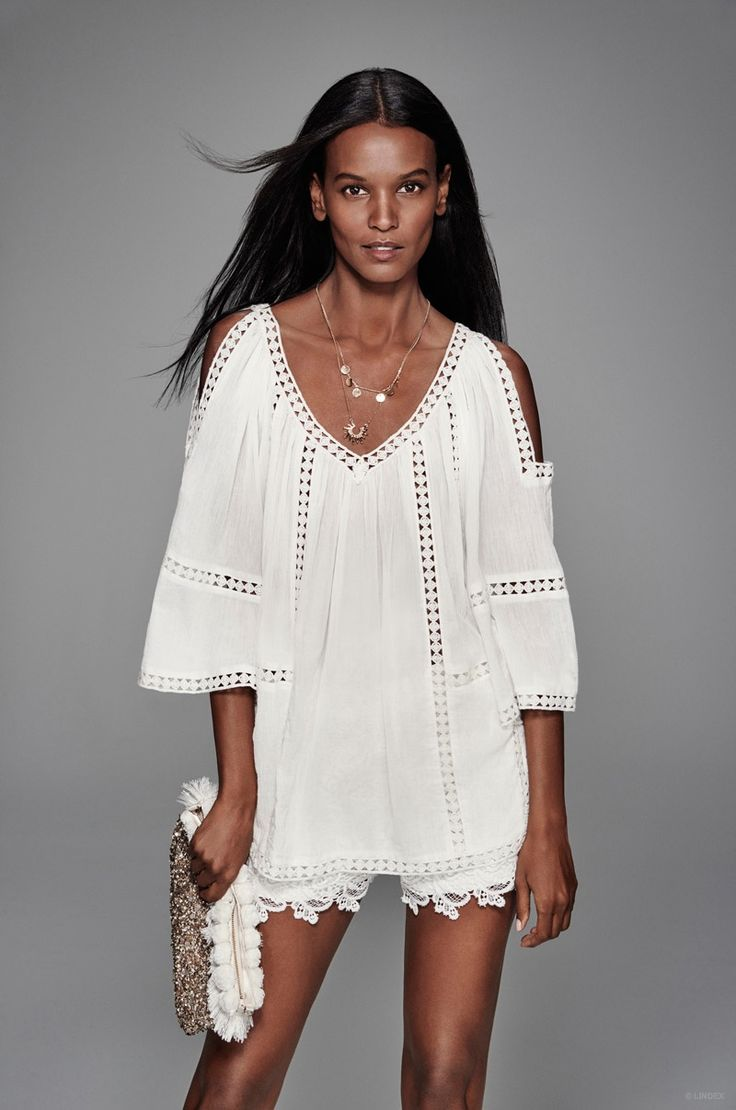 Liya Kebede wears an all white look for Lindex's spring advertisements.