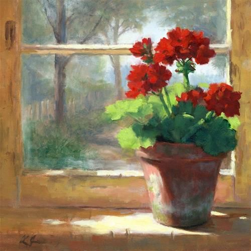 """Daily Paintworks - """"Geraniums in the Cottage"""" - Original Fine Art for Sale - © Linda Jacobus"""
