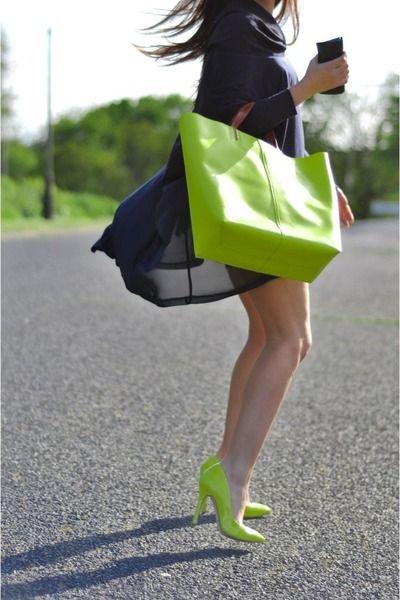 Lime Green Neon Shopper Zara Bag  Lime Green Neon Topshop Heels  Navy Top