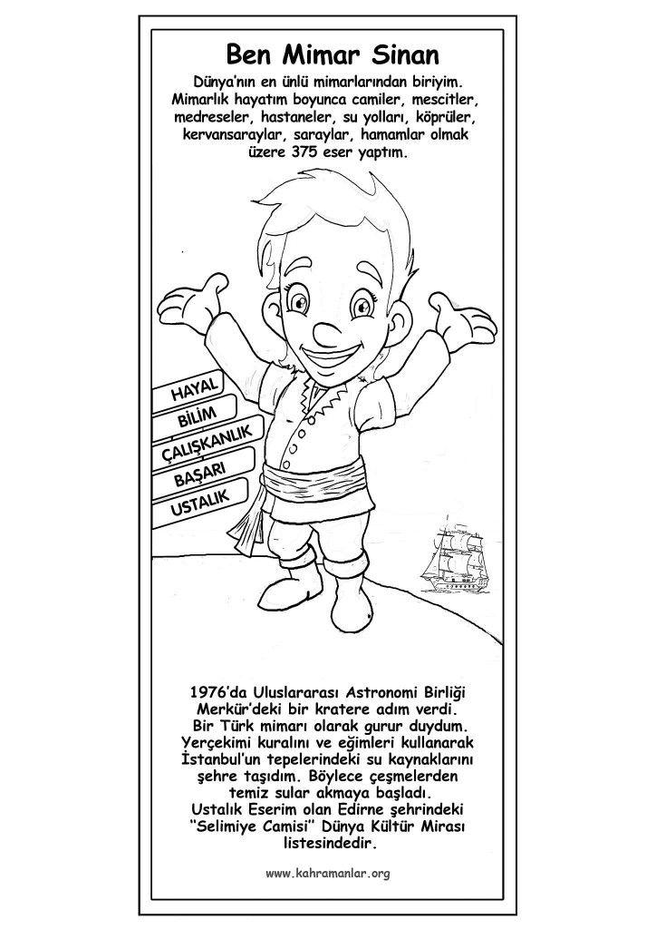 Mimar Sinan Ders Içi Boyama Education Children Ve Montessori