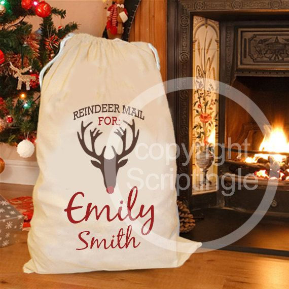 Personalised santa sack / personalised Christmas by Scriptingle