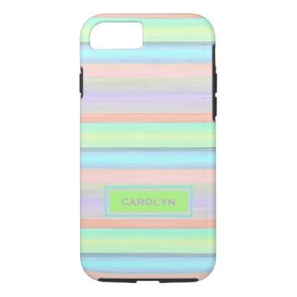 Custom Coral Pink Lime Green Turquoise Stripes iPhone 8/7 Case - monogram gifts unique design style monogrammed diy cyo customize
